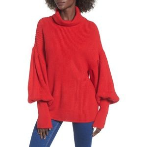Topshop Red Balloon Sleeve Turtleneck Sweater